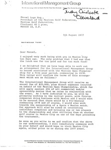 Thumbnail of Letter from Mark H. McCormack to Manuel Logo