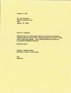 Thumbnail of Letter from Judy A. Chilcote to Ben Crenshaw
