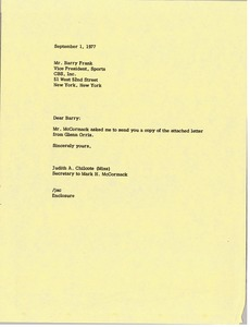 Thumbnail of Letter from Judy A. Chilcote to Barry Frank