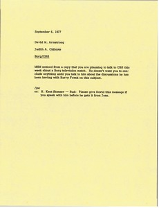 Thumbnail of Memorandum from Judy A. Chilcote to David M. Armstrong