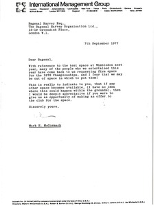 Thumbnail of Letter from Mark H. McCormack to Bagenal Harvey
