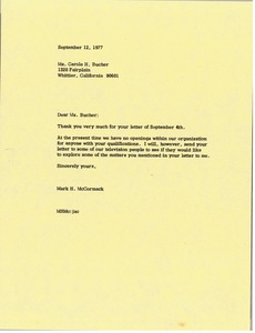 Thumbnail of Letter from Mark H. McCormack to Carole H. Bucher