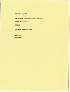 Thumbnail of Memorandum from Mark H. McCormack to Jay Michaels, Dave DeBusschere and Mike             Clark