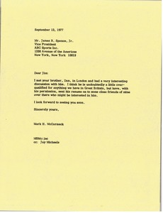 Thumbnail of Letter from Mark H. McCormack to Jim Spence