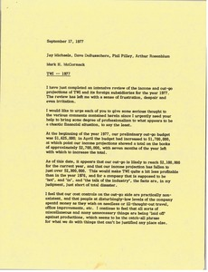 Thumbnail of Memorandum from Mark H. McCormack to Jay Michaels, Dave DeBusschere, Phil Pilley         and Arthur Rosenblum