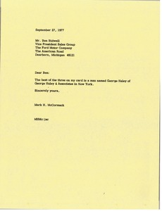 Thumbnail of Letter from Mark H. McCormack to Ben Bidwell