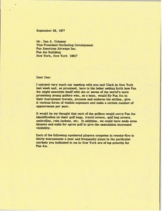 Thumbnail of Letter from Mark H. McCormack to Dan A. Colussy