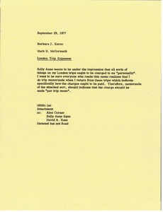 Thumbnail of Memorandum from Mark H. McCormack to Barbara J. Kernc