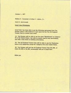 Thumbnail of Memorandum from Mark H. McCormack to William H. Carpenter and Arthur J. Lafave