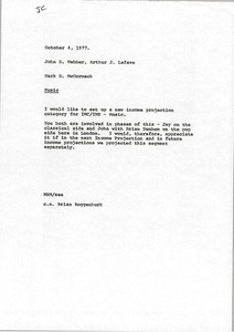 Thumbnail of Memorandum from Mark H. McCormack to John D. Webber and Arthur J. Lafave