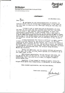 Thumbnail of Letter from Sid Mouland to Mark H. McCormack