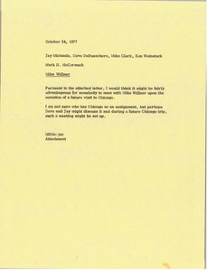 Thumbnail of Memorandum from Mark H. McCormack to Jay Michaels, Dave DeBusschere, Mike Clark and Ken Weinstock