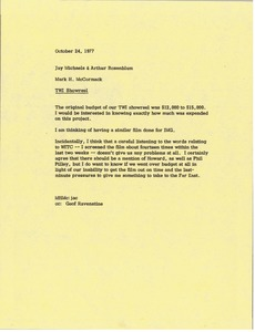 Thumbnail of Memorandum from Mark H. McCormack to Jay Michaels and Arthur Rosenblum