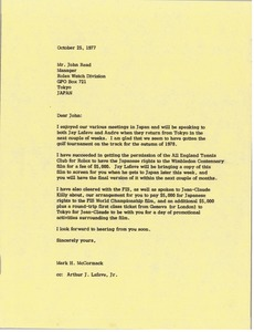 Thumbnail of Letter from Mark H. McCormack to John Read