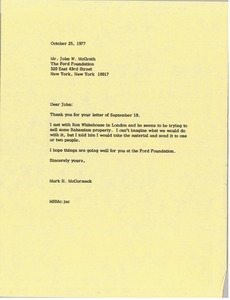 Thumbnail of Letter from Mark H. McCormack to John W. McGrath