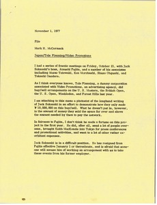Thumbnail of Memorandum from Mark H. McCormack to Japan Tele Planning Video Promotions file