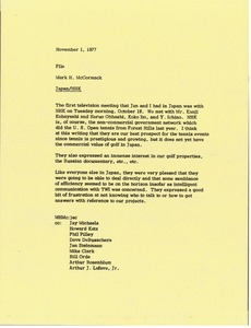 Thumbnail of Memorandum from Mark H. McCormack to Japan Nihon H?s? Ky?kai             file