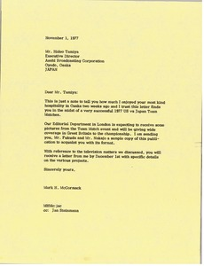 Thumbnail of Letter from Mark H. McCormack to Hideo Tamiya