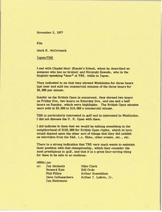 Thumbnail of Memorandum from Mark H. McCormack to Japan Tokai Television Broadcasting             Corporation file