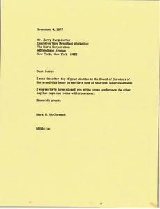 Thumbnail of Letter from Mark H. McCormack to Jerry Burgdoerfer
