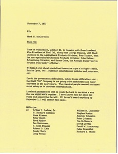 Thumbnail of Memorandum from Mark H. McCormack to Shell Oil file