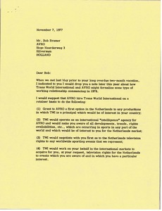 Thumbnail of Letter from Mark H. McCormack to Bob Bremer