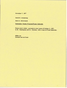 Thumbnail of Memorandum from Mark H. McCormack to David M. Armstrong
