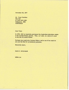 Thumbnail of Letter from Mark H. McCormack to Tony Charlton