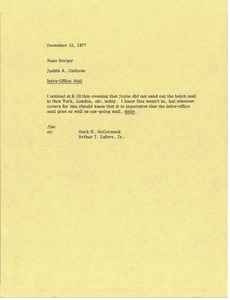 Thumbnail of Memorandum from Judy A. Chilcote to Russ Borger