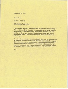 Thumbnail of Memorandum from Judy A. Chilcote to Robin Stern
