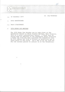 Thumbnail of Memorandum from Mark H. McCormack to Dave DeBusschere