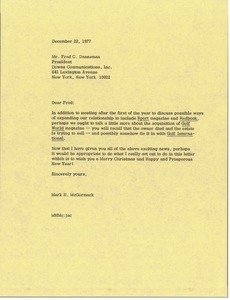Thumbnail of Letter from Mark H. McCormack to Fred C. Danneman