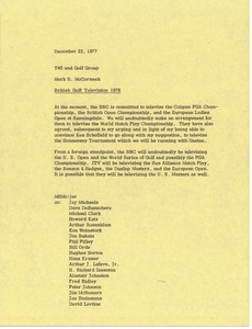Thumbnail of Memorandum from Mark H. McCormack to Trans World International and the golf             group