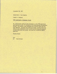 Thumbnail of Letter from Judy A. Chilcote to Robin Stern