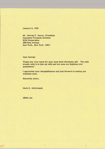Letter from Mark H. McCormack to George F. Burns