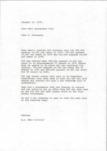 Thumbnail of Memorandum from Mark H. McCormack to David Marr announcing file