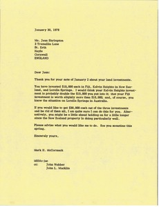 Thumbnail of Letter from Mark H. McCormack to Jean Shrimpton