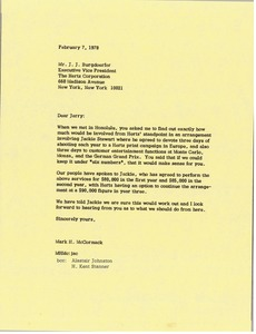 Thumbnail of Letter from Mark H. McCormack to Jerry J. Burgdoerfer