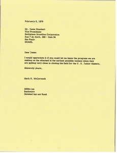 Thumbnail of Letter from Mark H. McCormack to Jesse S. Rinehart
