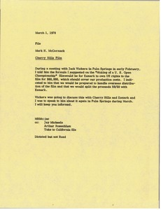 Thumbnail of Memorandum from Mark H. McCormack to Cherry Hills film file