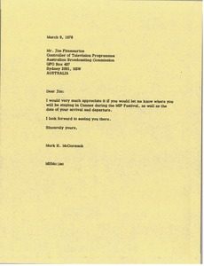 Thumbnail of Letter from Mark H. McCormack to Jim Fitzmaurice