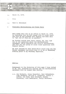 Thumbnail of Memorandum from Mark H. McCormack to Wimbledon merchandising and trade tent file