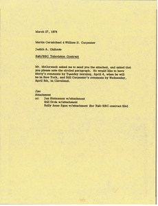 Thumbnail of Memorandum from Judy A. Chilcote to Martin Carmichael and William H. Carpenter