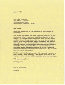 Thumbnail of Letter from Mark H. McCormack to Walter Haas Jr.