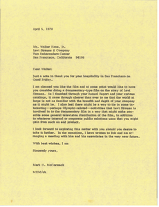 Letter from Mark H. McCormack to Walter Haas Jr.