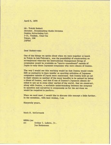 Thumbnail of Letter from Mark H. McCormack to Yoichi Hattaori