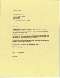Thumbnail of Letter from Mark H. McCormack to John Newcombe