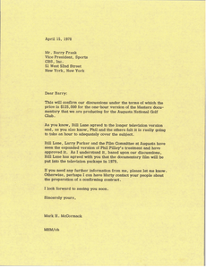 Letter from Mark H. McCormack to Barry Frank