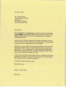 Thumbnail of Letter from Mark H. McCormack to Barry Frank