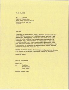 Thumbnail of Letter from Mark H. McCormack to L. E. Ricard